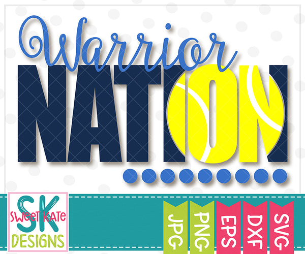Warrior Nation with Knockout Tennis Ball SVG DXF EPS PNG JPG - Sweet Kate Designs