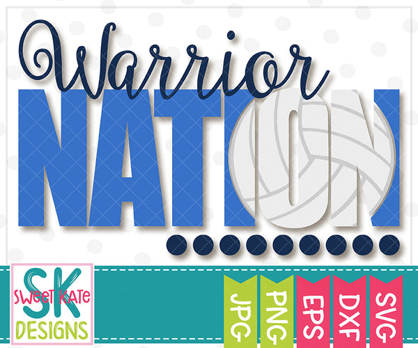 Warrior Nation with Knockout Volleyball SVG DXF EPS PNG JPG - Sweet Kate Designs