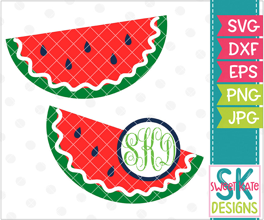 Watermelon Slice with Monogram Option SVG DXF EPS PNG JPG - Sweet Kate Designs