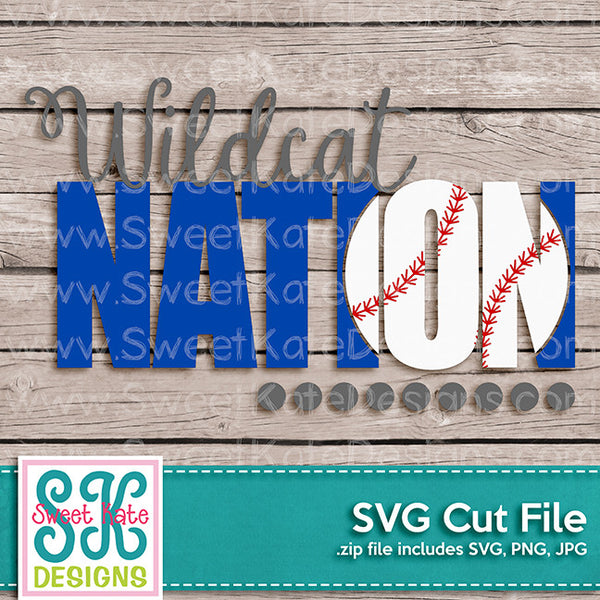 Wildcat Nation with Knockout Baseball or Softball SVG - Sweet Kate Designs