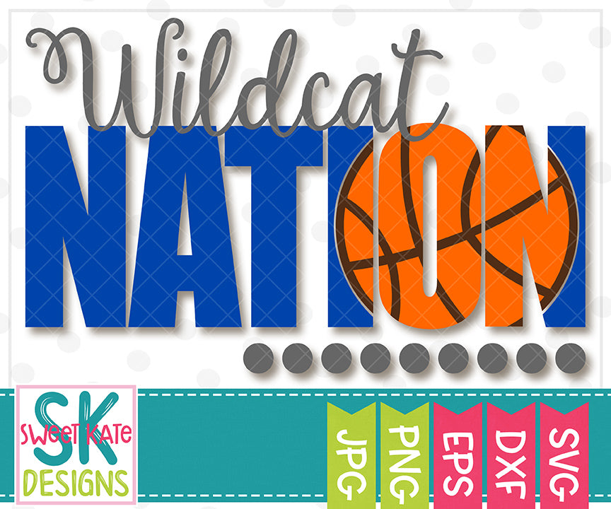 Wildcat Nation with Knockout Basketball SVG DXF EPS PNG JPG