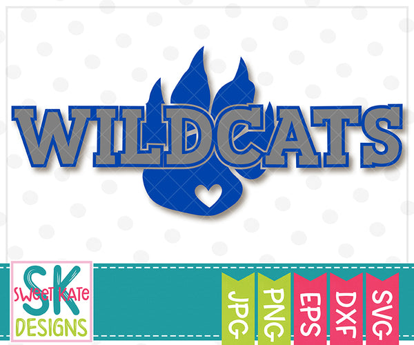 Wildcats with Paw SVG DXF EPS PNG JPG - Sweet Kate Designs