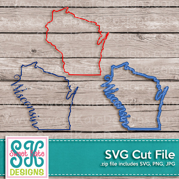 Wisconsin Outline SVG - Sweet Kate Designs