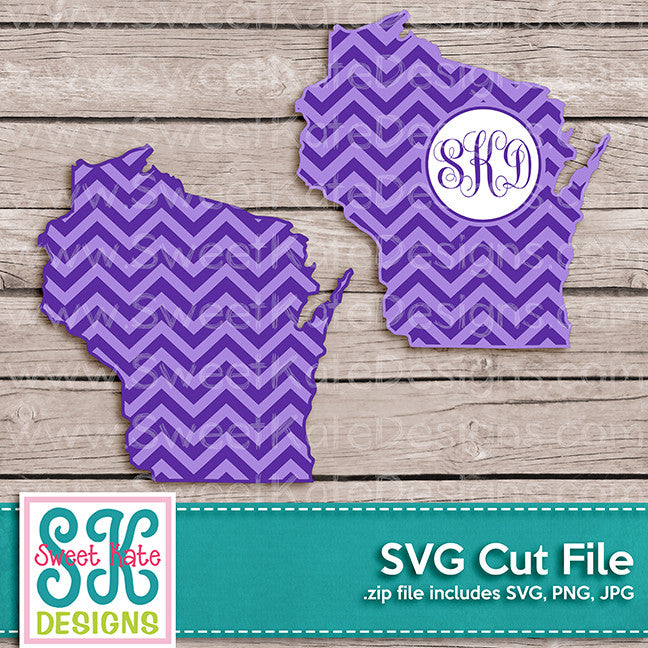 Wisconsin with Monogram Option Chevron SVG - Sweet Kate Designs