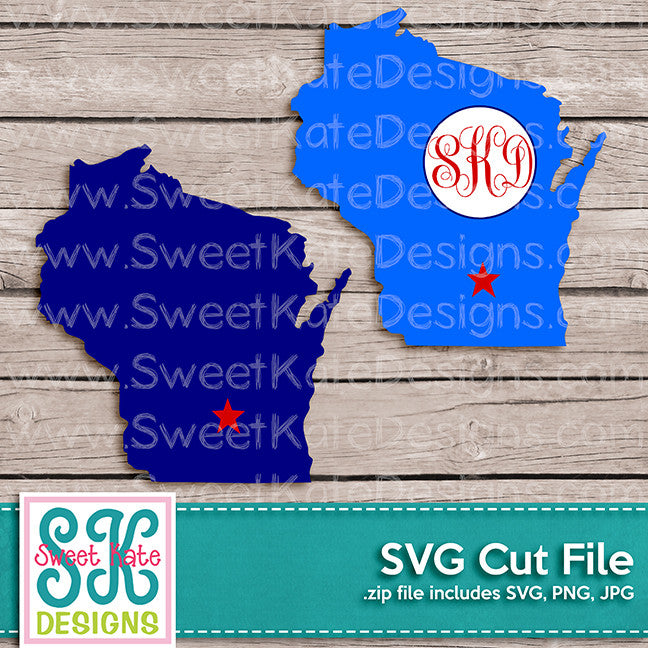 Wisconsin with Monogram Option SVG - Sweet Kate Designs