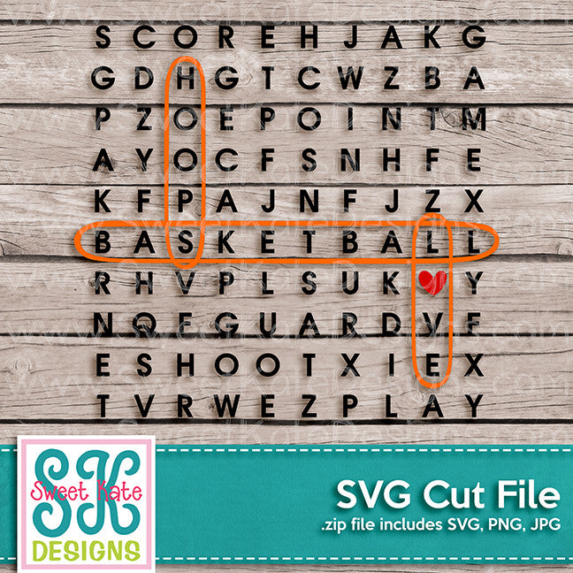 Word Search: Basketball SVG - Sweet Kate Designs