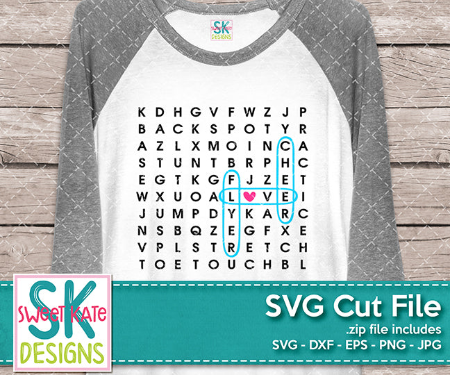 Cheer Word Search SVG DXF EPS PNG JPG - Sweet Kate Designs