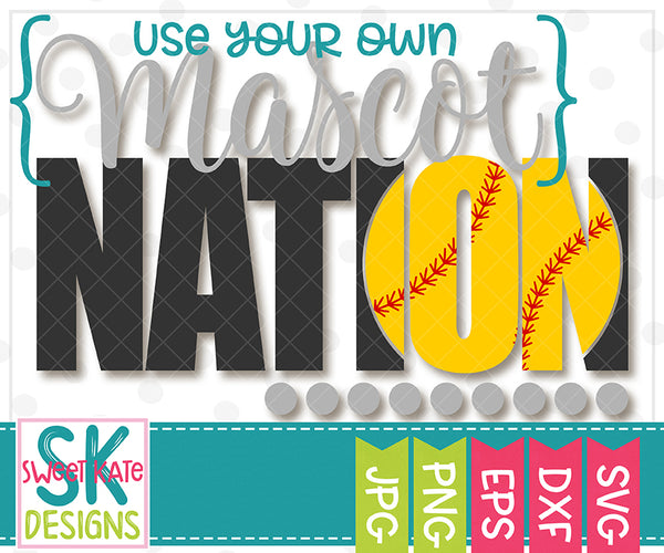 {YOUR MASCOT} Nation with Knockout Baseball or Softball SVG DXF EPS PNG JPG - Sweet Kate Designs