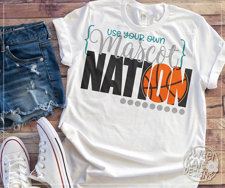 {YOUR MASCOT} Nation with Knockout Basketball SVG DXF EPS PNG JPG - Sweet Kate Designs