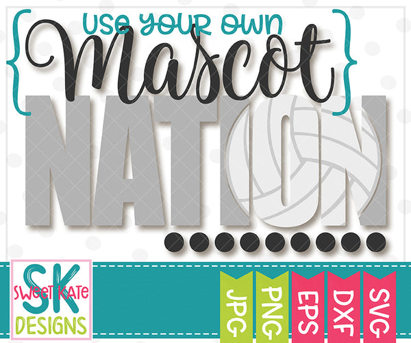 *NEW* {YOUR MASCOT} Nation with Knockout Volleyball SVG DXF EPS PNG JPG - Sweet Kate Designs