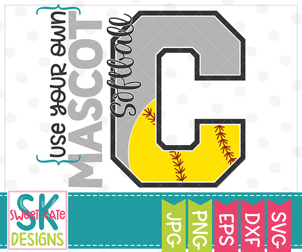 *NEW* Your Own Mascot C Softball SVG DXF EPS PNG JPG - Sweet Kate Designs
