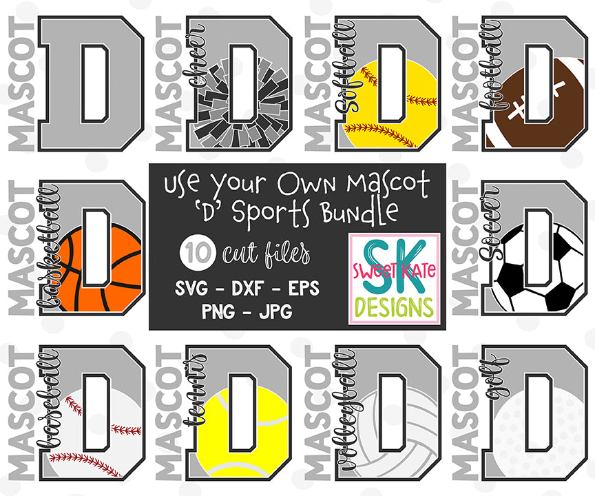 Your Own Mascot D Bundle SVG DXF EPS PNG JPG - Sweet Kate Designs