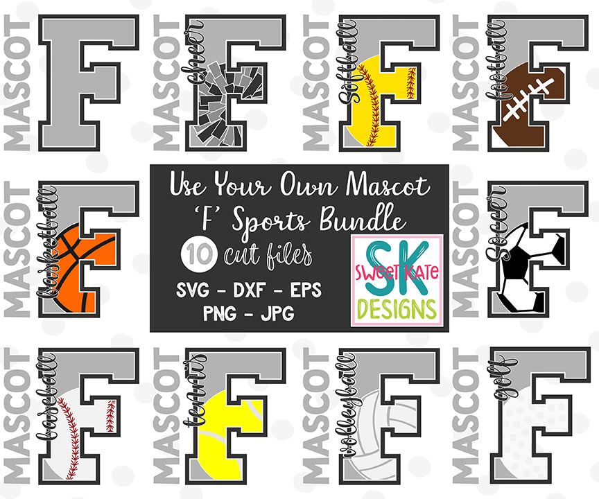 Your Own Mascot F Bundle SVG DXF EPS PNG JPG - Sweet Kate Designs