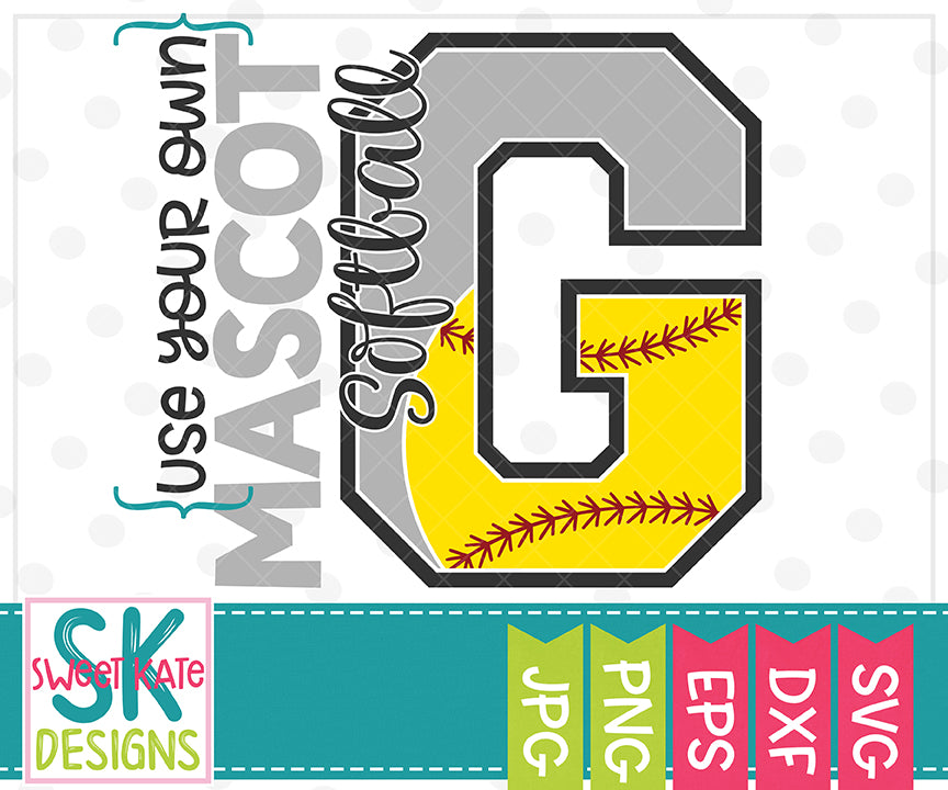 Your Own Mascot G Softball SVG DXF EPS PNG JPG - Sweet Kate Designs