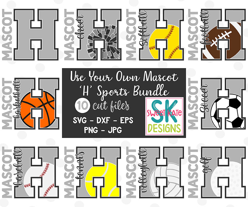 Your Own Mascot H Bundle SVG DXF EPS PNG JPG - Sweet Kate Designs