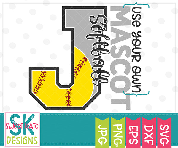 Your Own Mascot J Softball SVG DXF EPS PNG JPG - Sweet Kate Designs