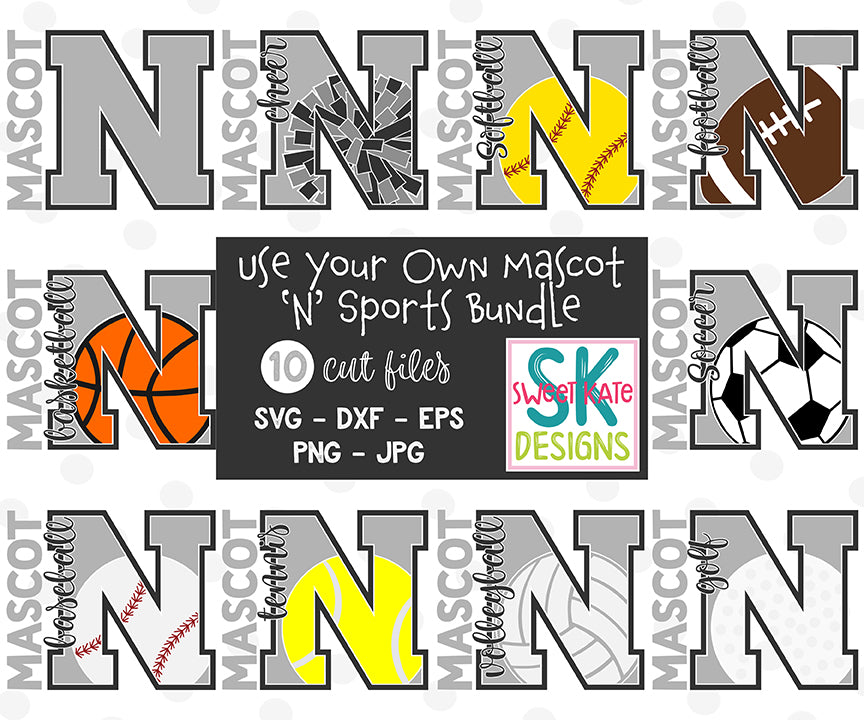 *NEW* Your Own Mascot N Bundle SVG DXF EPS PNG JPG - Sweet Kate Designs