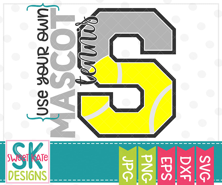 Your Own Mascot S Tennis SVG DXF EPS PNG JPG - Sweet Kate Designs