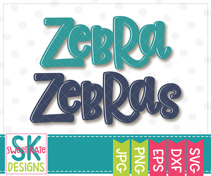 Zebra/Zebras SVG DXF EPS PNG JPG - Sweet Kate Designs