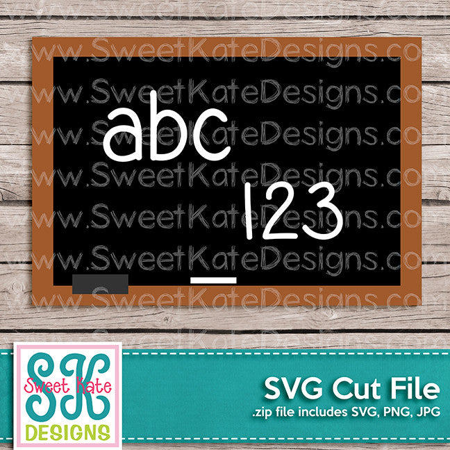 abc123 Chalkboard SVG - Sweet Kate Designs