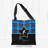 Personalized Blue Plaid and Silver Star Basketball Shoulder Tote Bag