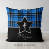 Personalized Blue Plaid With Silver Star Dance Throw Pillow