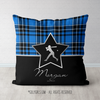 Personalized Blue Plaid With Silver Star Softball Throw Pillow - Golly Girls