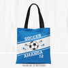 Golly Girls: Personalized Blue Jersey Stripes Soccer Name Plus Number Tote Bag