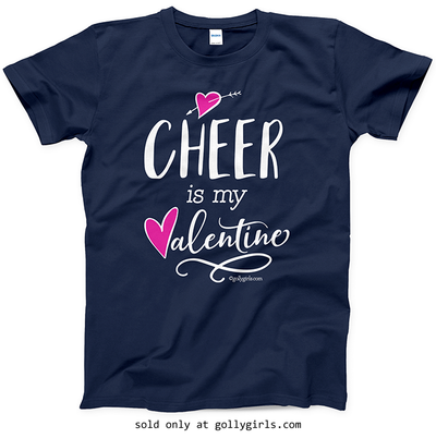 Golly Girls: Cheer is My Valentine Navy T-Shirt (Youth & Adult Sizes)