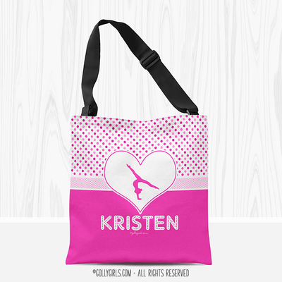Personalized Cute Simple Pink Polka-Dots Gymnastics Tote Bag - Golly Girls