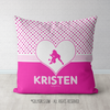 Personalized Cute Simple Pink Polka-Dots Softball Throw Pillow - Golly Girls