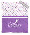 Golly Girls: Cute Tiny Flowers Personalized Lacrosse Fleece Throw Blanket