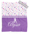 Golly Girls: Cute Tiny Flowers Personalized Soccer Fleece Throw Blanket