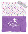 Golly Girls: Cute Tiny Flowers Personalized Softball Fleece Throw Blanket