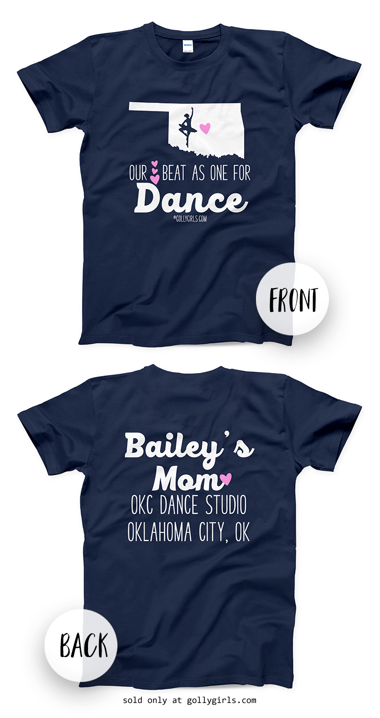 d4ea62a1e9a7d3 Golly Girls: Personalized Our Hearts Team Dance Navy T-Shirt (Youth & Adult