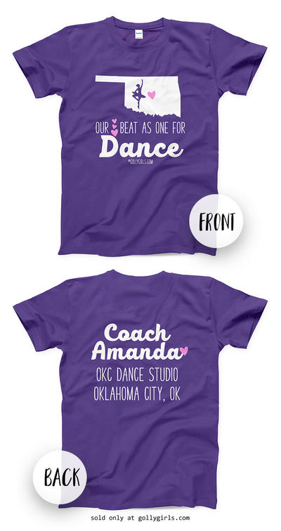 Golly Girls: Personalized Our Hearts Team Dance Purple T-Shirt (Youth & Adult Sizes)