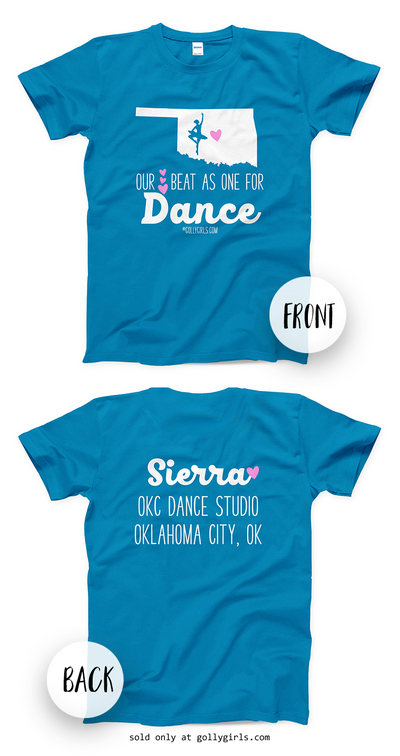 Golly Girls: Personalized Our Hearts Team Dance Sapphire T-Shirt (Youth & Adult Sizes)
