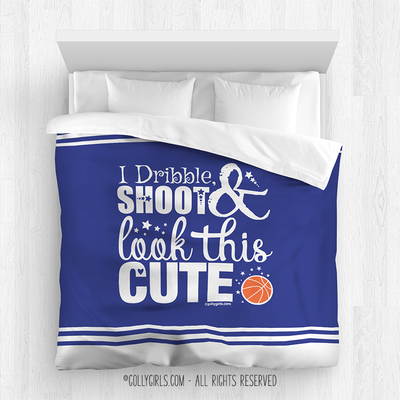 Golly Girls: Dribble Shoot Look Cute Blue Basketball Comforter