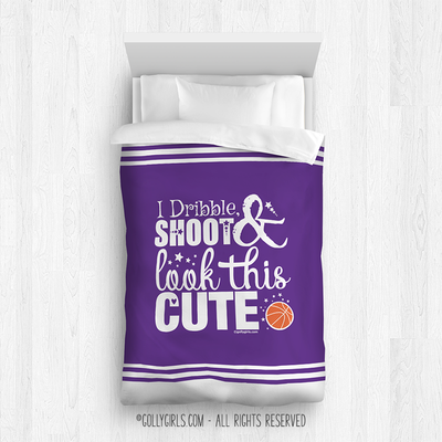 Golly Girls: Dribble Shoot Look Cute Purple Basketball Comforter