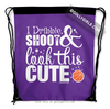 Golly Girls: Dribble Shoot Look Cute Basketball Purple Drawstring Backpack