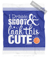 Golly Girls: Dribble Shoot Look Cute Basketball Blue Fleece Throw Blanket