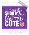 Golly Girls: Dribble Shoot Look Cute Basketball Purple Fleece Throw Blanket