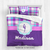 Golly Girls: Personalized Figure Skating Purple Plaid Queen Comforter Set + Pillow