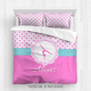 Golly Girls: Pink Fleur-De-Lis and Polka-Dots Gymnastics Queen Comforter Plus Sham