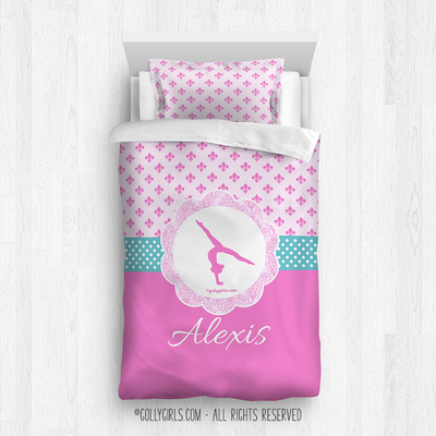 Golly Girls: Pink Fleur-De-Lis and Polka-Dots Gymnastics Twin Comforter Plus Sham