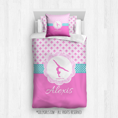 Golly Girls: Personalized Pink Fleur-De-Lis and Polka-Dots Gymnastics Comforter Or Set