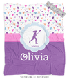 Golly Girls: Fun-Filled Hearts Personalized Lacrosse Fleece Throw Blanket