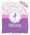 Golly Girls: Fun-Filled Hearts Personalized Soccer Fleece Throw Blanket