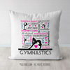 Gymnastics Typography - Words and Terms Throw Pillow - Golly Girls