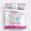 Golly Girls: Personalized Pastel Gymnastics Typography Queen Comforter Set + Pillow